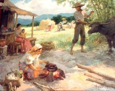 A 1954 Amorsolo oil painting depicts Philippine village life. Value Painting, Oil Painting Frames, Bubble Painting, Oil Painting On Canvas, Filipino Art, Filipino Culture, Philippine Art, Philippines Culture, Family Painting