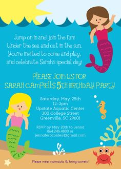 c9da54cfe12a255dc8b26af7c5394154 mermaid birthday invites birthday party invitations roller skating party printable birthday party invitation instant,Birthday Party Text Invitation