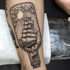 """Done another ship in bottle on Nick's ankle today. Thank you so much for traveling all the way from Canada to get this done. So appreciate man. …"""