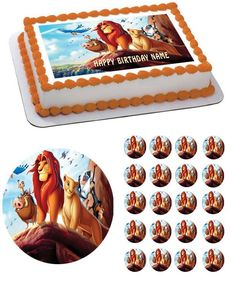 Lion King 1 Edible Birthday Cake Topper OR Cupcake Topper, Decor - Edible Prints On Cake (Edible Cake &Cupcake Topper)