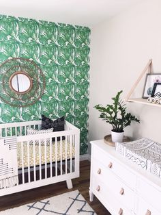 Fern Wallpaper in Twin Nursery