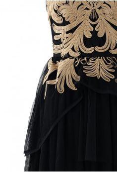 Golden Floral Embossment Black Tulle Dress - Dress - Retro, Indie and Unique Fashion