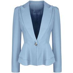 Office Peplum Notch Lapel Single Button Solid Blazer (2.090 RUB) ❤ liked on Polyvore featuring outerwear, jackets, blazers, blazer, coats & jackets, formal jacket, peplum jackets, long blazers, notch collar blazer and blue peplum blazer