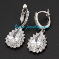 Retro clip-on earrings decorated with pendants of cubic zirconia