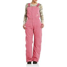 Carhartt Zeeland Sandstone Bib Overalls - Quilt Lined, Insulated (For Women) in Pink Rose