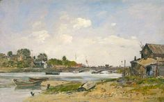 Eugene Boudin, The Bridge over the Touques at Deauville, Oil Eugene Boudin, Honfleur, Oil On Canvas, Bridge, Artwork, Artist, Paintings, Impressionism, Landscape