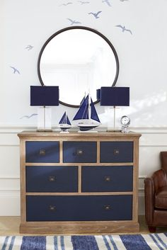 update of old beach dresser?Nautical Bedroom / Interview: Monique Lhuillier On Her Collection for Pottery Barn Kids Kids Bedroom Furniture, Painted Furniture, Diy Furniture, Nautical Furniture, Furniture Design, Mirror Furniture, Simple Furniture, Nautical Interior, Pottery Barn Furniture