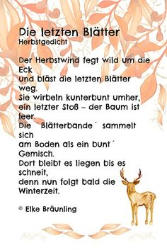 The last leaves * Elke's children's stories - Modern Elke Bräunling, The Last Leaf, Kindergarten Portfolio, College Classes, German Language, German Grammar, S Stories, Learning To Be, Poems