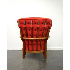 """<p><span style=""""font-size: 12px;"""">Armchair designed by Guillerme & Chambron, """"Caqueteuse"""" model, edited by Votre Maison during the 1970s. Solid oak frame and red wool seat. In very good condition.</span></p>"""