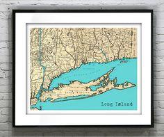 Long Island New York Poster Art Print Old Vintage Map