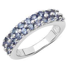 1.10 Carat Genuine Tanzanite .925 Sterling Silver Ring