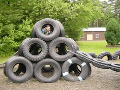 Playground climber from tires