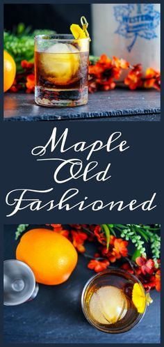 Maple Old Fashioned cocktail - bourbon, bitters, maple syrup drink, recipe, classic cocktail recipes Fancy Drinks, Party Food And Drinks, Yummy Drinks, Bourbon Cocktails, Cocktail Drinks, Alcoholic Drinks, Beverages, Cocktail Desserts, Cocktail Attire