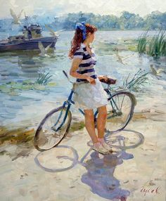 We are professional Vladimir Gusev supplier and manufacturer in China.We can produce Vladimir Gusev according to your requirements.More types of Vladimir Gusev wanted,please contact us right now! Illustration Photo, Bicycle Art, Impressionist Art, Russian Art, Woman Painting, State Art, Art Pages, Aesthetic Art, Beautiful Paintings