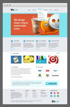 Awesome BisLite Business Website PSD Templates. Friends today's design download is a modern business website PSD template in Photoshop format. Named as BisLite the website template comes in three pages - home portfolio and contact us. This means there are three PSD files in the zip file. This is a four column template and you can code it into a WordPress or HTML5 fully responsive website for your business personal or portfolio need. The download comes in 3 PSD files each of which is created…
