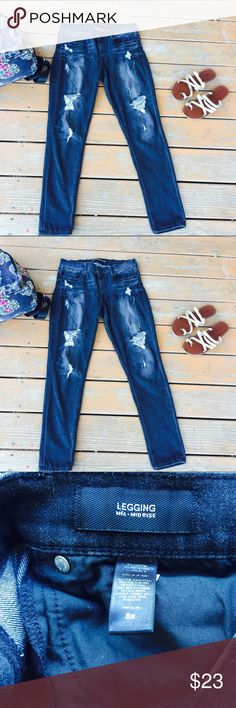 Express mid rise legging 8R distressed Express mid rise legging 8R Distressed denim dark grey color has holes  Slight puckering flaws reflected in photo nothing major doesn't affect functionality of pants  Offers accepted  Extremely comfortable and soft Express Jeans Skinny