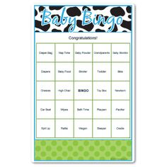 Baby Bingo in cow print. Add your own personalized message to the baby shower game.