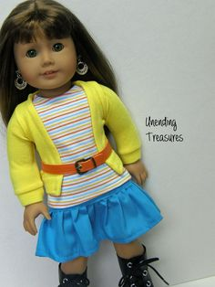American Girl doll clothes, 18 inch doll clothes, yellow cardigan, turquoise ruffle skirt, striped tank top, and orange belt