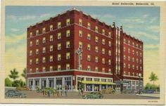 Hotel Belleville IL Linen Postcard - Illinois