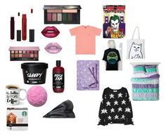"""Christmas Haul c:"" by thedruginmeisbrooklynn ❤ liked on Polyvore featuring UNIF, RIPNDIP, Pillowfort, Lime Crime, Wildfox, Anastasia Beverly Hills and Smashbox"