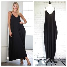 """Comfortable black maxi has a v-neck in front and back, pockets, and is made from a lightweight jersey. Stretchy and comfortable. Measurements laying flat: armpit seam to armpit seam S 17.5"""", M 18.5"""", L 20"""", width at top of pocket - S 26.5"""", M 28"""", L 29.5"""", length from shoulder to hem - S 51"""" M 51"""", L 51"""""""