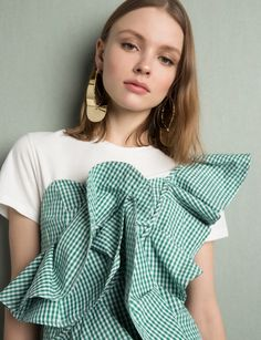 Green Gingham Ruffled One Shoulder Top