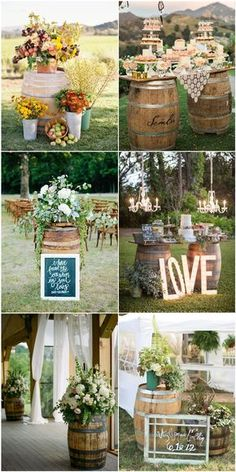 country chic wine barrel theme wedding decoration ideas