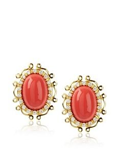 CK by Kenneth Jay, Coral Oval Cabochon Errings