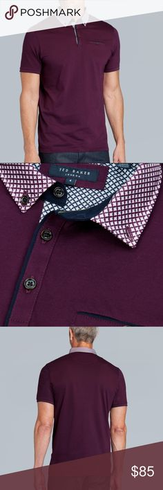 Ted Baker Men's Purple Printed Collar Polo Shirt With a subtle geo print collar and trim, this go-to layer has the secret power to spruce up any look. Team with a pair of chinos and be your own style hero.  Geo print collar Short sleeved Button-front fastening Buttoned chest pocket Ships from California Ted Baker London Shirts Polos