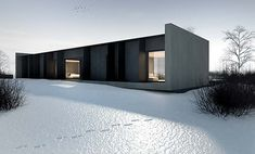 This concrete house is a luxury single family home located in Grudziądz, Poland and designed by Tamizo Architects. The house has gorgeous modern design with a striking dark grey tone Architecture Durable, Houses Architecture, Architecture Design, Minimal Architecture, Beautiful Architecture, Residential Architecture, Contemporary Architecture, Computer Architecture, Concrete Architecture