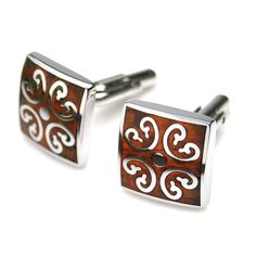 PenSee Rare Stainless Steel & Red Wood Cufflinks for Men with Gift Box | shopswell