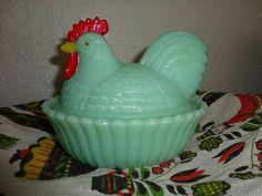 Westmoreland Rooster Chicken on Nest Hand Painted Jade Jadite Milkglass