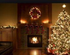 Christmas Fireplace set to Old Time Radio Christmas Music ...