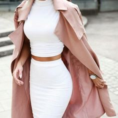Two piece paired with a dusty rose trench coat - perfection