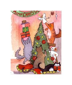 Cat Greeting Card- Cat Christmas Card- Funny Cats Art- Cats Watercolor Painting Illustration Print