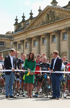 HARROGATE, ENGLAND - JULY 05: Prince William, Duke of Cambridge, Catherine, Duchess of Cambridge and Prince Harry start the first stage of the 2014 Tour de France, a 190km stage between Leeds and Harrogate at harewood house on July 5, 2014 in Harrogate, England. (Photo by Bryn Lennon/Getty Images) (via Cycling - Photo Gallery - Yahoo Sports)