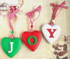 Christmas JOY Heart decorations by art angel 1, via Flickr