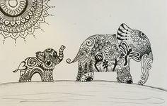 Zentangle elephant doodle sold on etsy at www.Tangledzoo.com