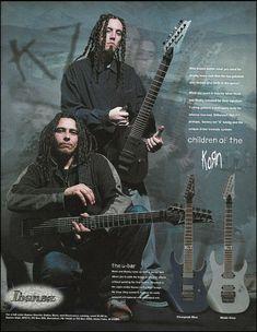 carefully taken from a guitar magazine. for that special fan or guitar owner. Heavy Metal Art, Nu Metal, Korn, Metal Bands, Rock Bands, Pop Evil, Metal Meme, Brian Head, Jonathan Davis