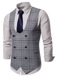 Buy Double Breasted Plaid U Neck Waistcoat - Light Gray - online, fidn many other Men's Suits & Blazers Mens Suit Vest, Men's Waistcoat, Mens Suits, Plaid Suit, Double Breasted Waistcoat, Gilet Costume, Suit Combinations, Designer Suits For Men, Basket Mode