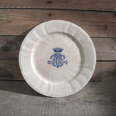 Antique 1870s Crown arm coats Plate French Large by MaisonW