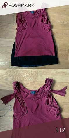 Deletta maroon sleeveless top Maroon Deletta sleeveless top. Features a ruched embellished collar with a free hanging cotton ribbon that rests on each shoulder. Some wear and pilling noticeable, but has lots of life left! Pair with your favour flared jeans and ballet flats or dress it up with a pleated black skirt and dangly silver earrings. Anthropologie Tops Tank Tops
