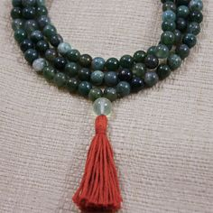 Moss Agate Mala Necklace w Prehnite & by compassionmalas on Etsy