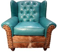 The Sa Oversize Wing Chair Western Accent Chairs Ery Soft Turquoise Leather With Tufted Detail