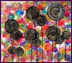 Fond : éponges tamponnées, collage de ronds noirs décorés en graphisme : blanc / doré + tiges craie grasse