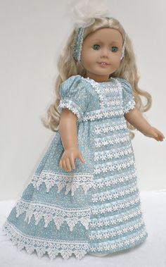 EMPIRE DAY DRESS, ELEGANT HEADBAND, PANTALOONS & SHOES    This is a charming four piece ensemble that includes an elegant beaded frock, coordinating
