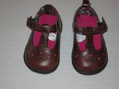 Baby Gap Brown Leather T Strap Pink Heart Cutout Mary Jane Shoes Infant 3 #babyGap #DressShoes