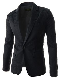 (CRJ101-BLACK) THELEES Mens Slim Fit Paisley Pattern Long Sleeve 1 Button Blazer