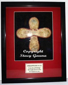 Baseball Cross in 11x14 Shadowbox Frame with Red Double Mat Personalized. $49.99, via Etsy.