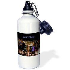 3dRose Las Vegas The Strip, Sports Water Bottle, 21oz